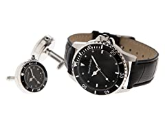 Men's Watch, Cufflink Set, Black Dial