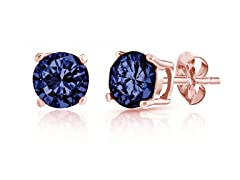 18K Rose Gold 2.0cttw Blue Topaz Studs