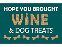 Printed Coir Welcome Mat, Wine & Dog Treats