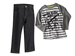 Guitar Striped Top & Jeans (2T-4T)