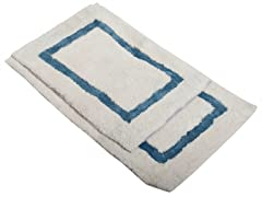 Border Bath Rug-Blue-Set of 2