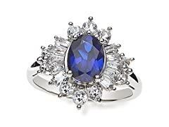 SS, Blue Sapphire & White Sapphire Cocktail Ring