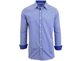 Men's LS Gingham Plaid Dress Shirt