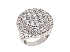 Rhodium Plated Clear Crystal Round Ring