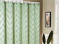 Behrakis Jacquard Shower Curtain - Sage