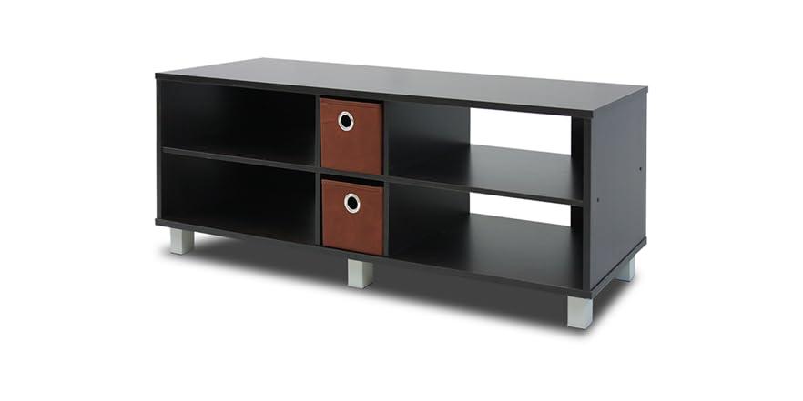 furinno tv entertainment center w drawers. Black Bedroom Furniture Sets. Home Design Ideas