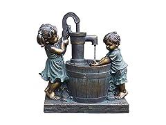"Santa's Workshop 23.5"" Poly Boy/Girl Fountain"