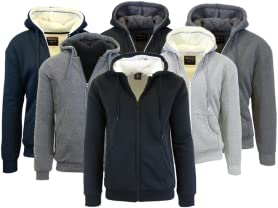 Mens Sherpa Lined Fleece Zip-Up Hoodie