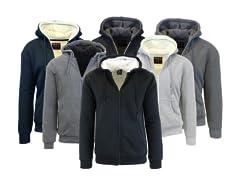 Mens Sherpa Lined Fleece Zip-Up Hoodie