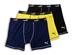 Puma Boxer Briefs 3-Pack, Black/Yellow