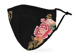 Black Modern Floral Adult Size Face Mask