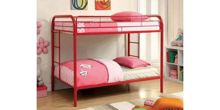 red metal bunk bed kids toys. Black Bedroom Furniture Sets. Home Design Ideas