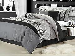 Renaissance 8Pc Comforter Set - Grey - 2 Sizes