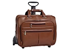 "OHare Leather Fly-Thru™ 17"" Wheeled Laptop Case"