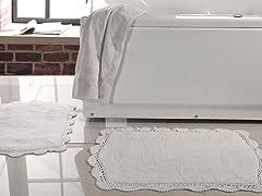 Reversible Bath Rug w/ Crochet Lace (Set of 2)