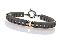 BlackJack 14K Gold, Stainless Steel, and Rubber Bangle