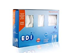 Disposable Plastic Cutlery Set, 210 ct