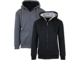 Sherpa Lined Fleece Zip-Up Hoodies 2-Pack