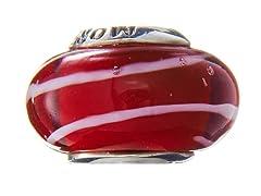 Red Swirl Glass Bead