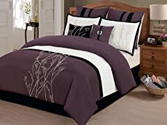 8-Pc Taylor Comforter Set- Plum (Multiple Sizes)