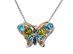 Sterling Silver & 14kt Multi Butterfly