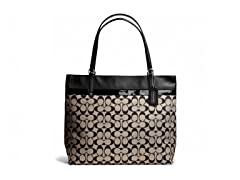 Coach Small Signature Tote - Silver/Khaki Black/Black