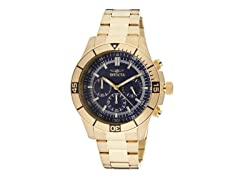 Invicta Men's Chronograph, Navy/18K Gold