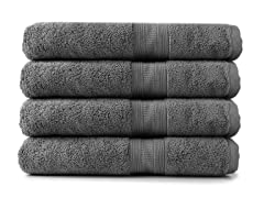 MicroCotton 4pc Bath Towel Set-Steel