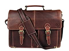 Aaron Leather Briefcase Messenger Bag