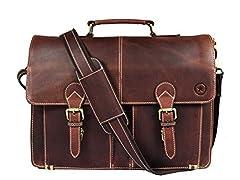 Aaron Leather Briefcase Messenger Bag