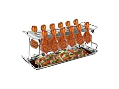 Chicken Leg Grill Stand - 12 Slots With Tray