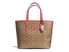 Coach Metro Tote in Signature C Coated Canvas, Khaki/Red