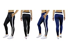 Women's Striped Track Jogger Pants 2 Pack