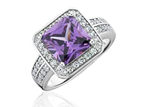 18K Gold Plated Amethyst Micropave Ring