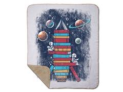 Reading Rocket Ship Sherpa Blanket