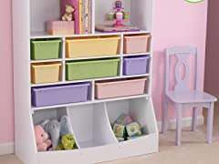Wall Storage Unit w/ Pastel Bins