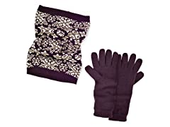 Swirly Scrolls Funnel Scarf + Texting Glove Set