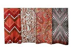 4-Pack Silk Scarves, Paisley/Carmine