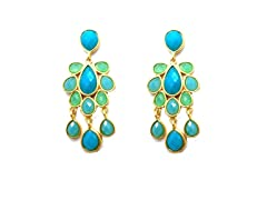 TearDrop Chandelier Turquoise Epoxy Stone Dangling Earrings