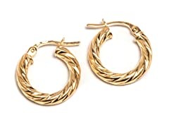 14K Gold Twisted DC Hoop Earring