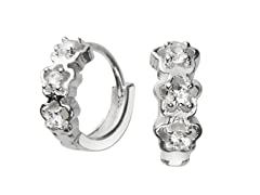 Sterling Silver Tri Flower Sim. Diamond