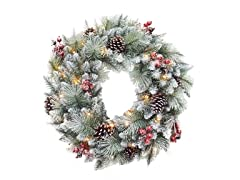 "30"" Glitter Mixed Pine Wreath"