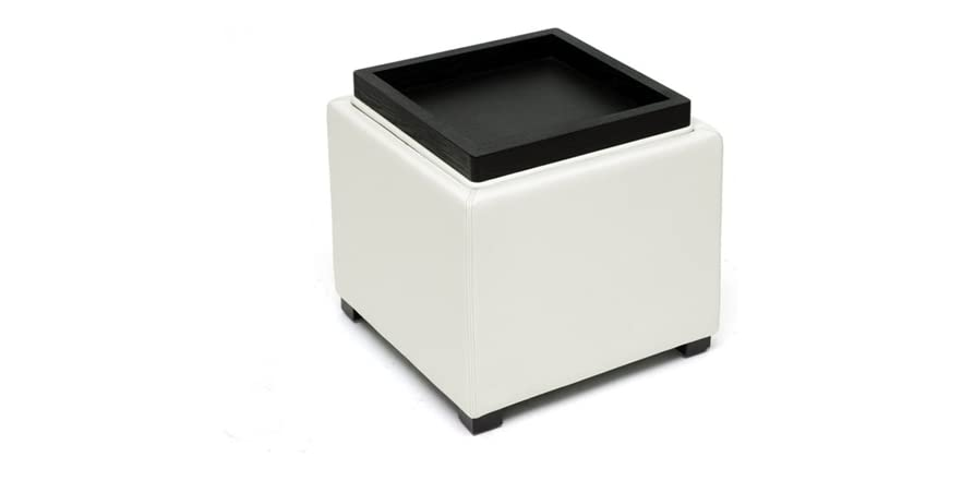 Gaia Cream Leather Storage Cube Ottoman