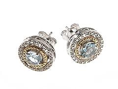 Silver & 14k Gold Aquamarine Earrings