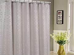 Kempsey Jacquard Shower Curtain-4 Colors