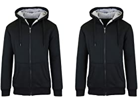 Sherpa Lined Fleece Zip-Up Hoodie 2-Pks