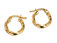 14K Gold Twisted Hoop Earring