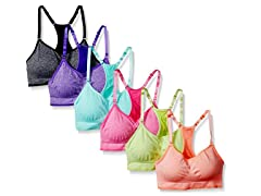 6Pk Heather Color Sports Bras