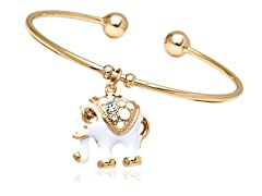 Gold/White Elephant Charm Bangle