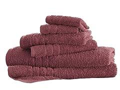 6-Piece 100% Cotton 600 GSM Solid Towel Set